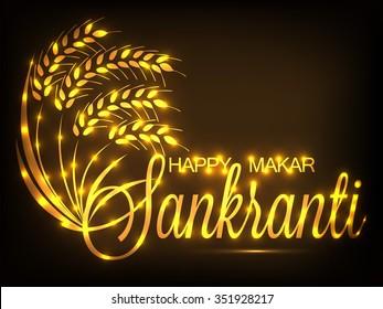 Vector illustration of stylish text on beautiful background for Makar Sankranti.