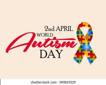 Vector illustration of a stylish text for World Autism Day with ribbon.