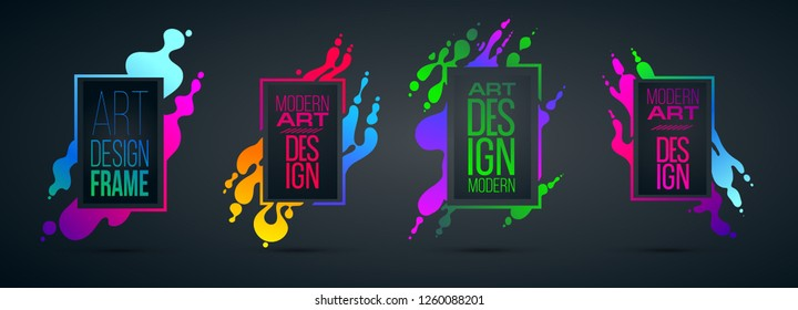 vector illustration. Stylish trendy modern background for the design of colorful frames, form of waves and abstract liquid. graphic design for brochures, flyers, envelopes, presentations, reports