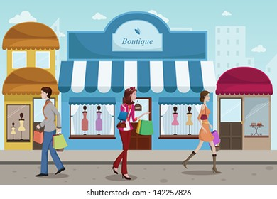 A vector illustration of stylist people shopping in an outdoor mall with French boutique style