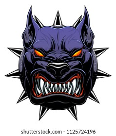 Vector illustration of stylized black dog head.
