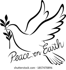 "Vector illustration of a stylized black and white outline of a dove holding an olive branch, with the words, ""Peace on Earth."""