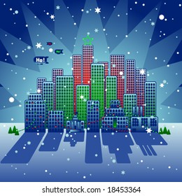 Vector illustration of a stylized city at Christmas