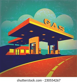 vector illustration of a stylized effect of old movie film on petrol station on the highway
