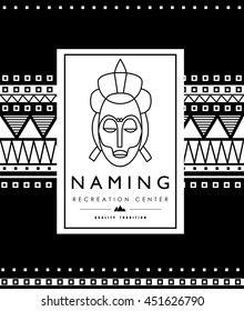 Vector illustration. The stylized face of African, Indian girls. Illustration with ornaments African motifs. Logo for packing coffee, jewelry, exotic things. Gift wrap. Tribe Arbor.