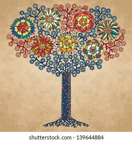Vector illustration with stylized flowering tree for your design