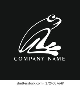 Vector illustration of a stylized frog. Frog logo. Frog silhouette. Company logo template.