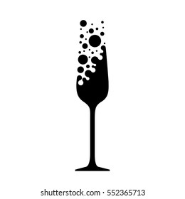 Vector illustration, stylized glass of champagne. Logo for restaurant, bar, cafe or party. A glass of champagne with bubbles.