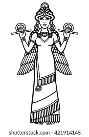 Vector illustration: the stylized goddess Ishtar. Character of Sumerian mythology. Full growth. The black silhouette isolated on a white background.