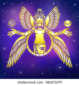 Vector illustration: stylized goddess Ishtar. Character of Sumerian mythology. Angel, queen, idol, mythical character. Background - the night star sky. Gold imitation.