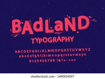 Vector illustration of stylized grunge and cracked font. Alphabet and numbers.