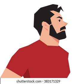 Vector illustration of a stylized portrait of a hipster man on a white background