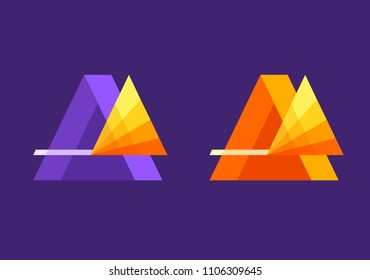 Vector illustration of stylized prism splitting a ray into a spectrum. Can be used as icon or logo template. Simple colorful modern style.