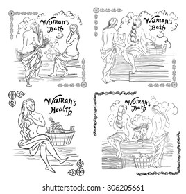 vector illustration stylized sketch woman bathhouse poster with text and borders