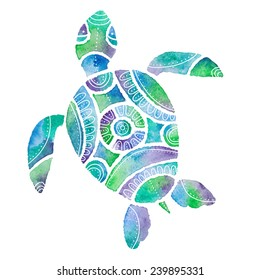 vector illustration of stylized turtle in watercolor technique in green, blue and violet colors