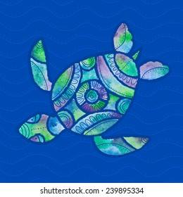 vector illustration of stylized turtle in watercolor technique in green, blue and violet colors on the background of sea water