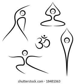 Vector illustration of stylized yoga poses.