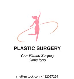 Vector illustration of stylized young woman gracile body, can be used as a logo for plastic surgery clinics