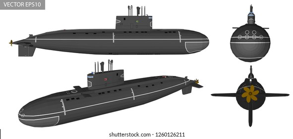 Vector illustration of submarine 3D for military.