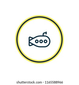 Vector illustration of submarine icon line. Beautiful transport element also can be used as bathyscaphe icon element.