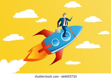 Vector illustration of succesfull business man ride a sky rocket