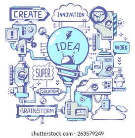 Vector illustration of successful model work of blue light bulb with ballpoint pen key word on a white background. Line art hand draw design for web, site, advertising, banner, poster, board, print.