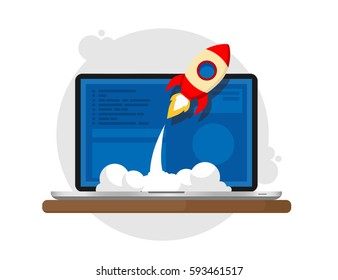 Vector illustration of successful startup business. Flat design.