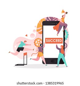 Vector illustration of successful superhero businessman flying with trophy, another two men running to finish, jumping over obstacle. Leadership, succeed, winner concept for web banner website page.