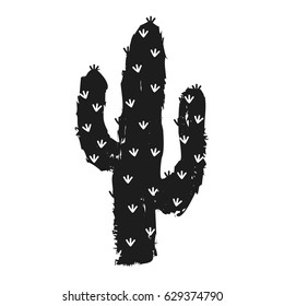 Vector illustration with succulent cactus. Hand-drawn background.