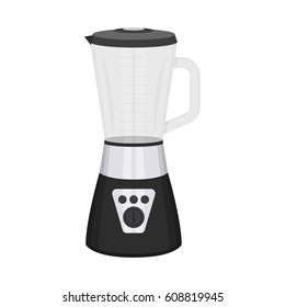 Vector illustration of such kitchenware and utensil as a mixer or blender on white background. Kitchen and food preparing topic.