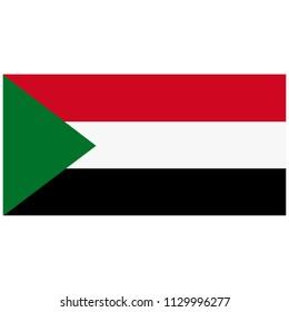 Vector illustration Sudan flag icon isolated on white background. Rectangle national flag of Sudan. Flag button