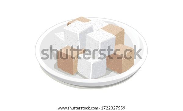 ベクターイラスト 皿に角砂糖