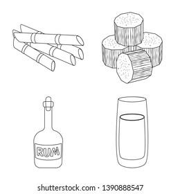 Vector illustration of sugar and field logo. Collection of sugar and plantation stock vector illustration.
