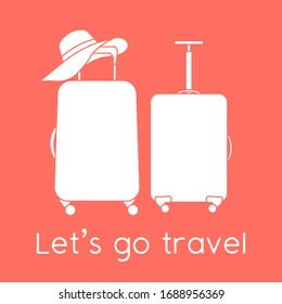 Vector illustration Suitcases, sun hat isolated on color background. Let's go travel. Summer time, vacation, holiday, leisure. Concept for travel agency, booking service. Design for web page, print