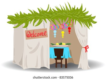 A Vector illustration of a Sukkah decorated with ornaments for the Jewish Holiday Sukkot.