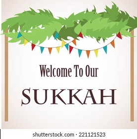 A Vector illustration of a Sukkah for the Jewish Holiday Sukkot