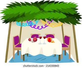 Vector illustration of Sukkah with ornaments table with food for the Jewish Holiday Sukkot.