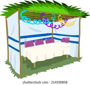 Vector illustration of Sukkah with ornaments and table for the Jewish Holiday Sukkot.