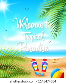 Vector illustration of Summer background. Beautiful summer beach background