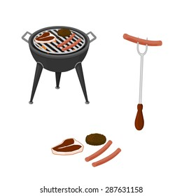 A vector illustration of a summer BBQ. BBQ cooking food and equipment. Cooking barbecue food over a grill.