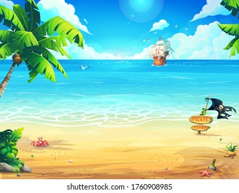 Vector illustration summer beach and palm trees on the background of the sea and frigate. For print on demand, advertisements and commercials, magazines and newspapers, book covers, flyers