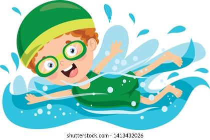 Vector Illustration Of Summer Children Swimming