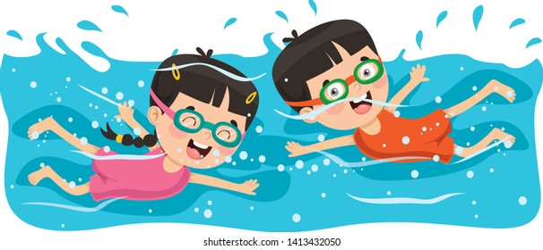 Vector Illustration Of Summer Children Swimming