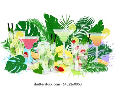 Vector illustration of summer cocktails set with tropic leaves and fruits. Design with Classic Mojito, Strawberry Mojito, Margarita, lemonade for card, flyer, invitation, party, bar, menu, offer.