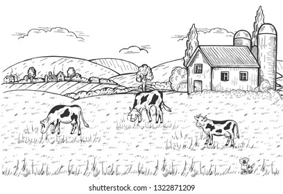 Vector illustration of summer countryside with domestic animals grazing in the meadow, farm above and settlement near the mountains. Vintage hand drawn style