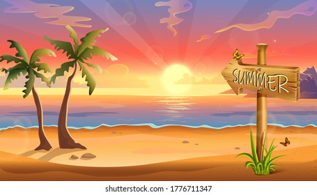 vector illustration of summer destination background, tropical beach with palms and wooden sign.