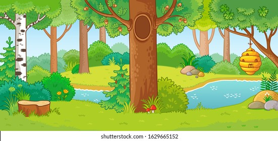 Vector illustration with summer forest and small river. Landscape on the theme of nature in a cartoon style.
