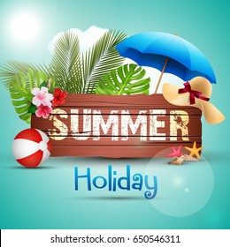 Vector illustration of Summer holiday with wooden background and palm leaves