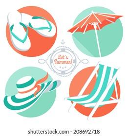 Vector Illustration Summer icons: flip flops, hat, beach umbrella and chair