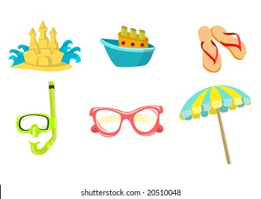 Vector illustration of summer icons. Includes sand castel, boat, flip-flop, snorkel, sunglasses and umbrella.